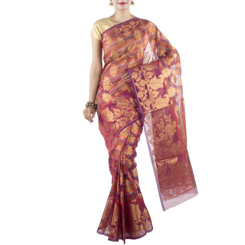 Multi color striped Art Silk Saree with paisley motifs and zari work