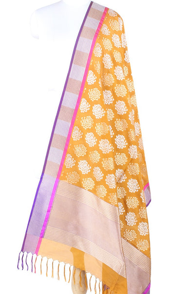 Mustard Yellow Banarasi Silk Dupatta with spider mums motifs and dual zari  PCPBD01SG19 (1) Main