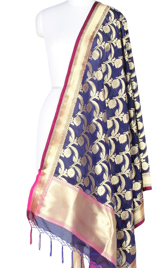 Navy Blue Art Silk Banarasi Dupatta with stylish flower jaal PCRVDAS202 (1) MAIN