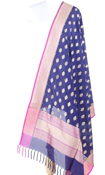Navy Blue Banarasi Silk Dupatta with Dhakai flower motifs PCPBD03S33 (1) Main