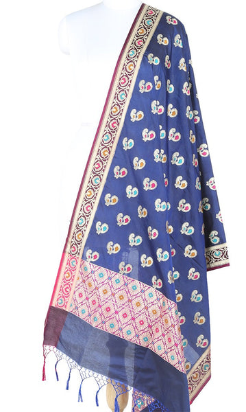 Navy Blue Silk Banarasi Dupatta with multi color peacock motifs 10000335300006BV251 (1) Main