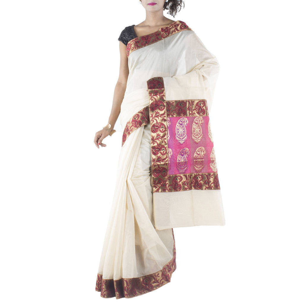 Off White Art Silk Saree with Brocade border and anchal