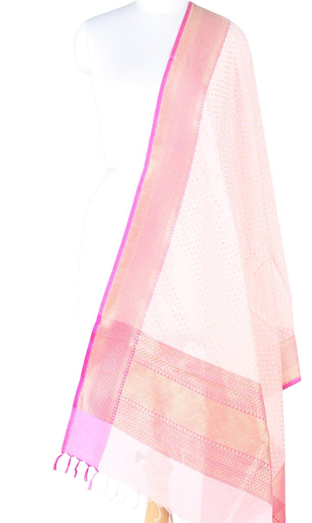Off white Silk cotton Banarasi dupatta with mini polka dots (PCPBD03SC02) (1) Main