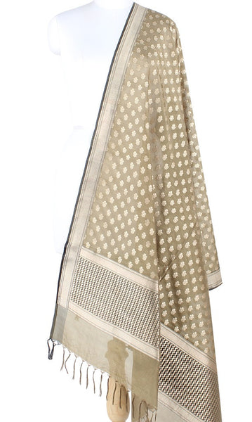 Olive Banarasi Silk Dupatta with mini flower booti PCPBD04S24 (1) Main