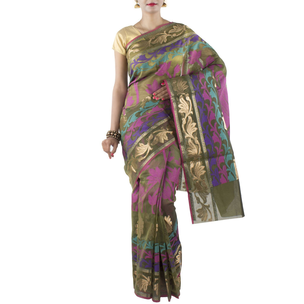 Olive Green Kora Art Silk Saree with Lotus boota and zari work