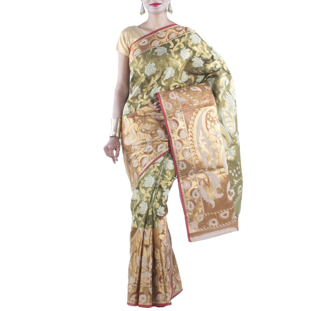 Olive Green Kora Art Silk Saree with Paisley jaal and Zari work