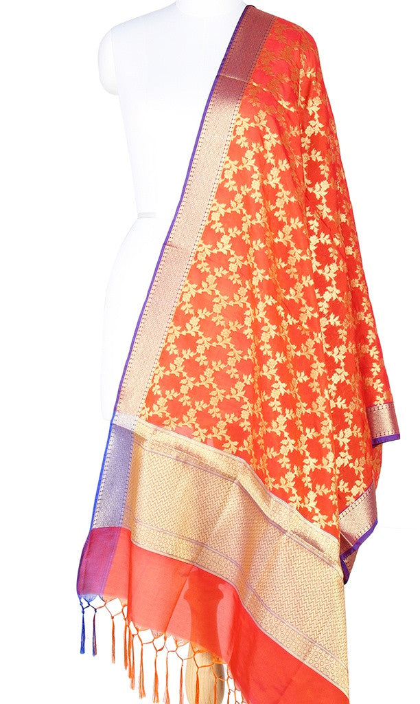 Orange Art Silk Banarasi Dupatta with Aesthetic floral jaal Main Image