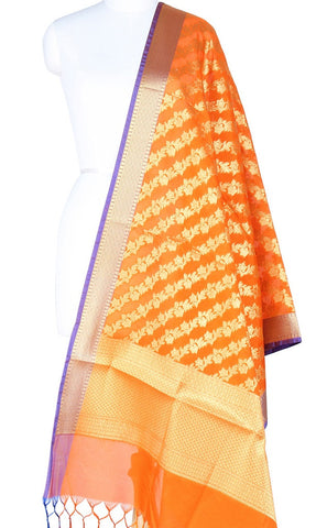 Orange Art Silk Banarasi Dupatta with Diagonal floral jaal Main Image