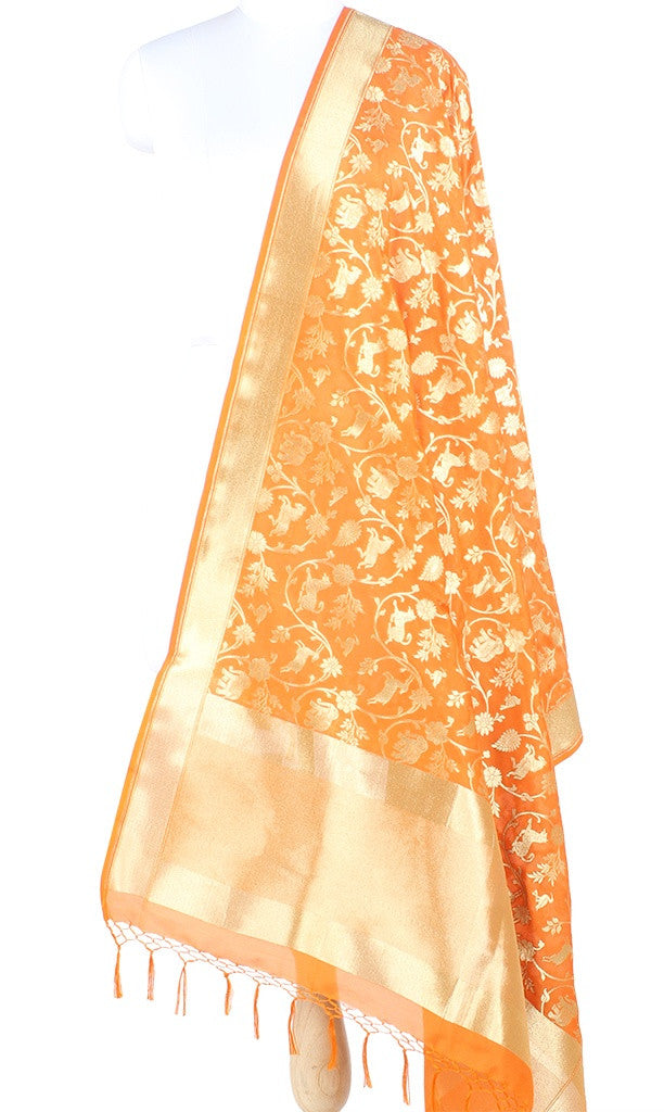 Orange Art Silk Banarasi Dupatta with Shikargah jaal 10000365100007OR024 (1) Main