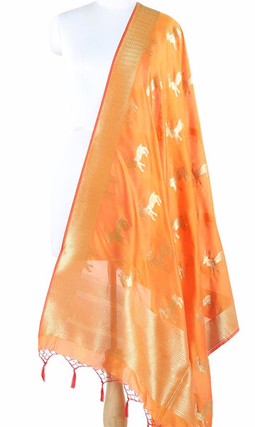 Orange Art Silk Banarasi Dupatta with deer motifs PCVB01AS08 (1) Main