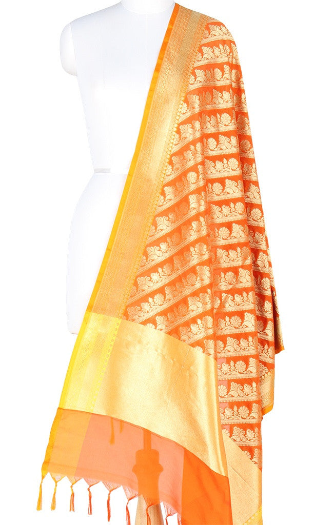 Orange Art Silk Banarasi Dupatta with diagonal floral jaal PCJB01N50 (1) MAIN