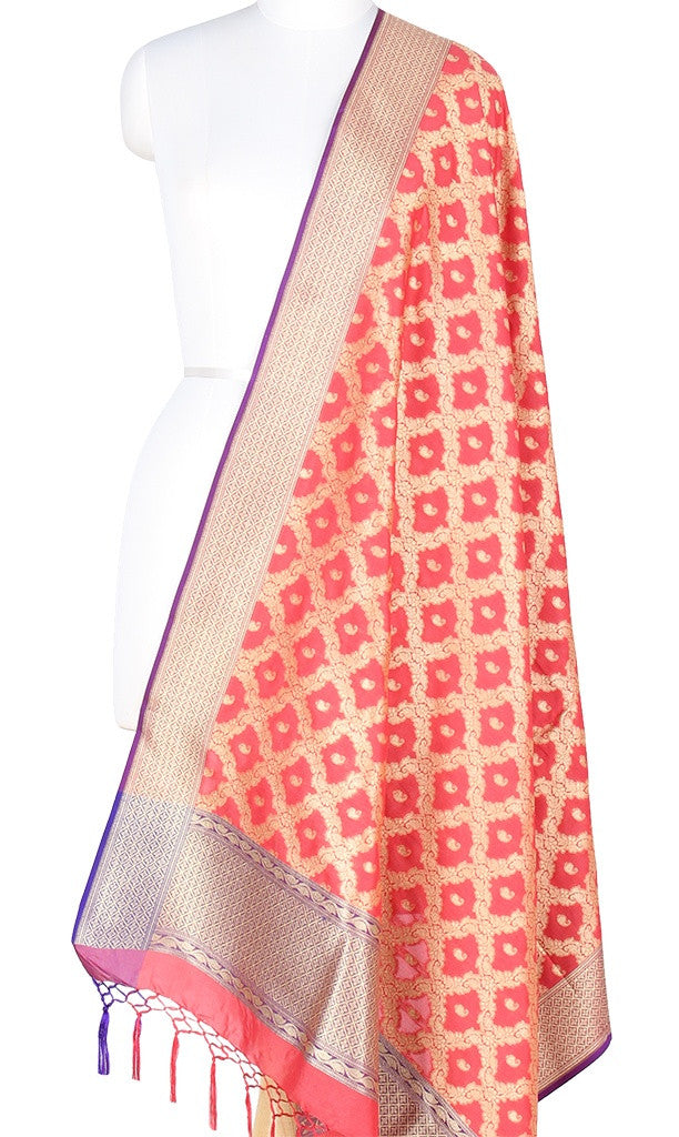 Coral Art Silk Banarasi Dupatta with floral jaal and paisley motifs PCRVD04JJ05 (1) Main