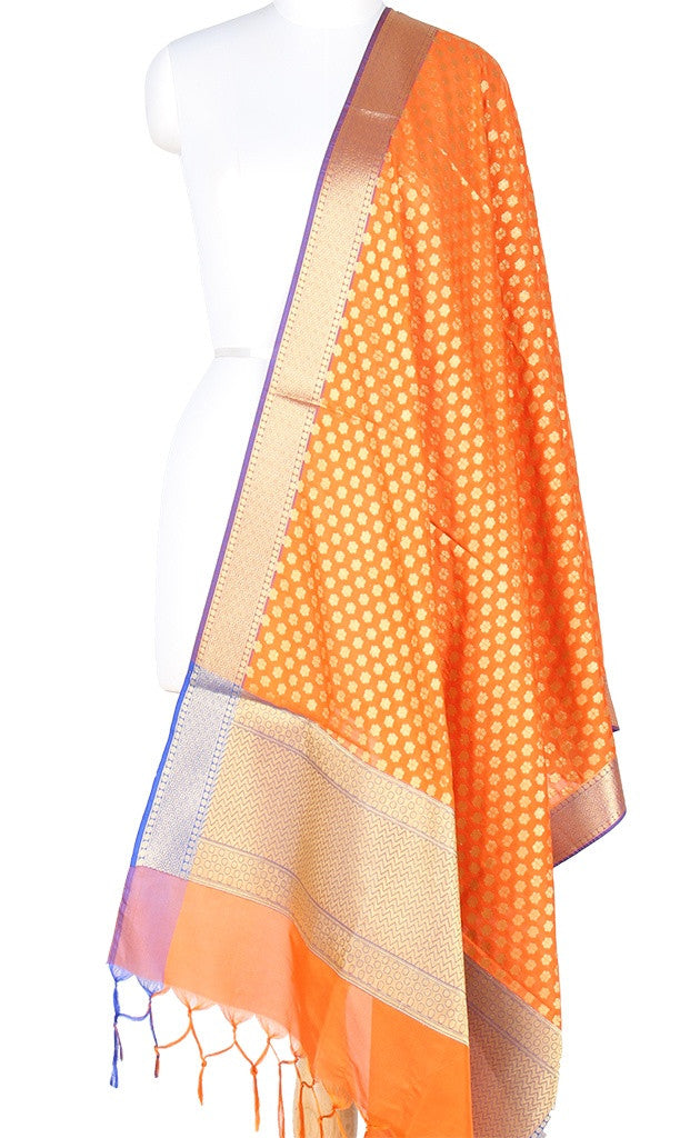 Orange Art Silk Banarasi Dupatta with mini floral booti and zari work PCRVD01N83 (1) Main