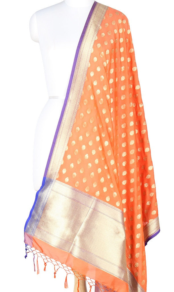 Orange Art Silk Banarasi Dupatta with mini lotus motifs PCRVDAS302 (1) Main