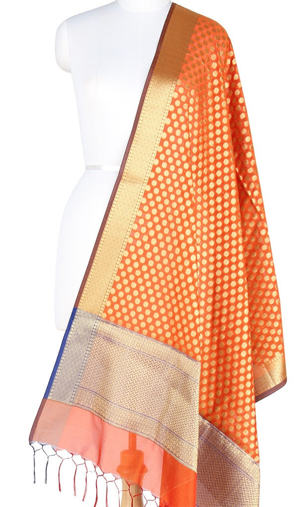 Orange Art Silk Banarasi Dupatta with polka dots and zari work PCRVD01N45 (1) Main