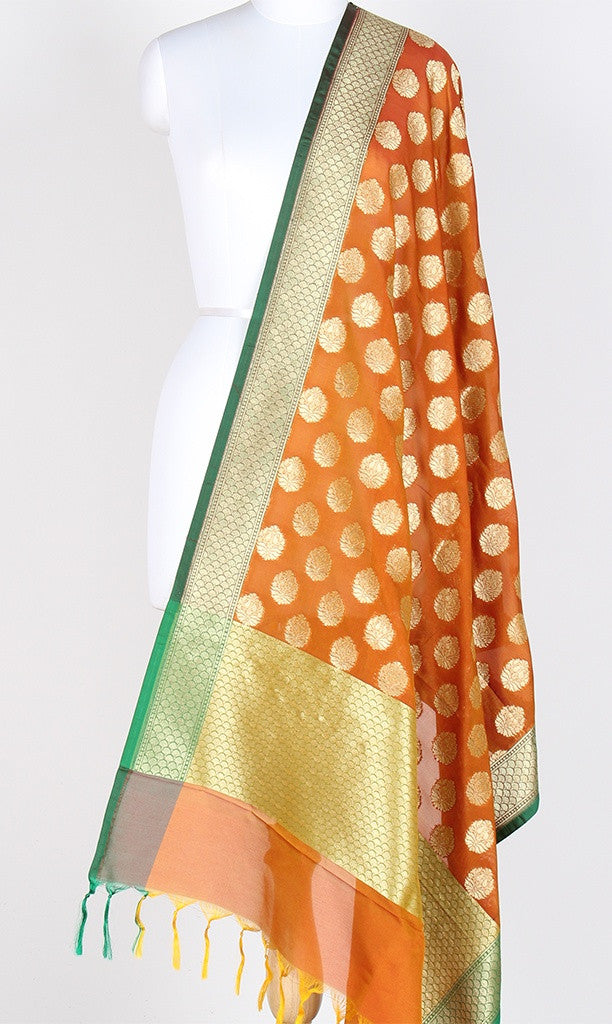 Orange Art Silk Banarasi dupatta with stylized booti and green edge SSJB01N90 (1) Main