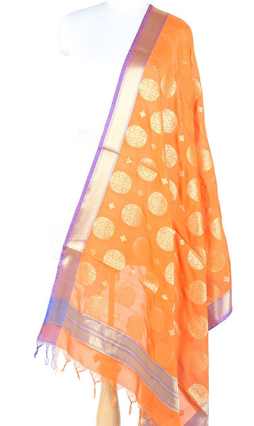 Orange Art silk Banarasi Dupatta with round flower and diamond  motifs (1) Main