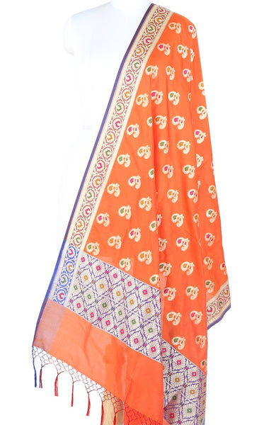 Orange Banarasi Dupatta with multi color peacock motifs 10000305300006RO012 (1) Main