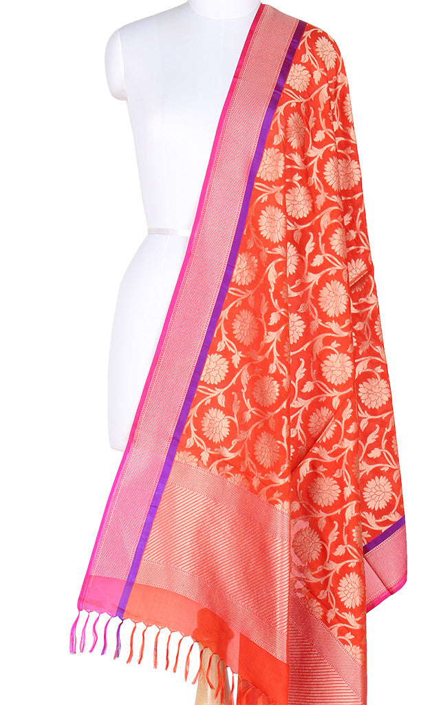 Orange Banarasi Silk Dupatta with Floral jaal and zari work PCPBD03S24 (1) Main