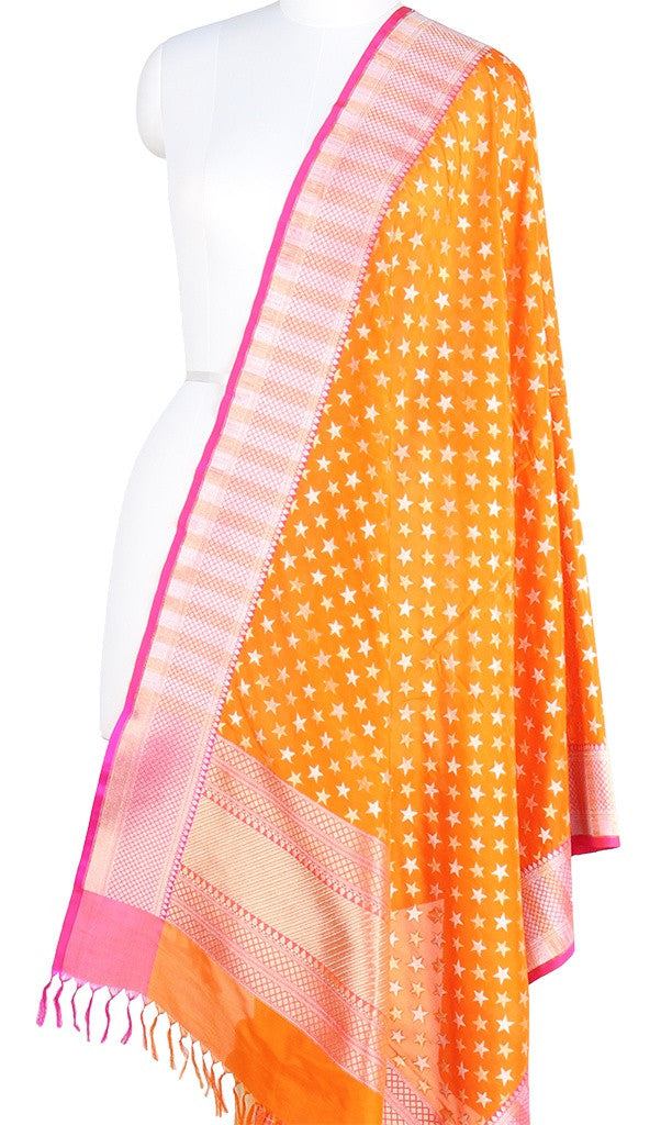 Orange Banarasi Silk Dupatta with star motifs and dual zari work (PCPBD01SG02) (1) Main