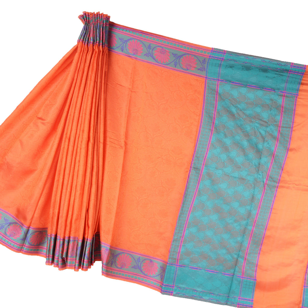 Orange Banarasi Silk Saree with Floral jaal and resham work