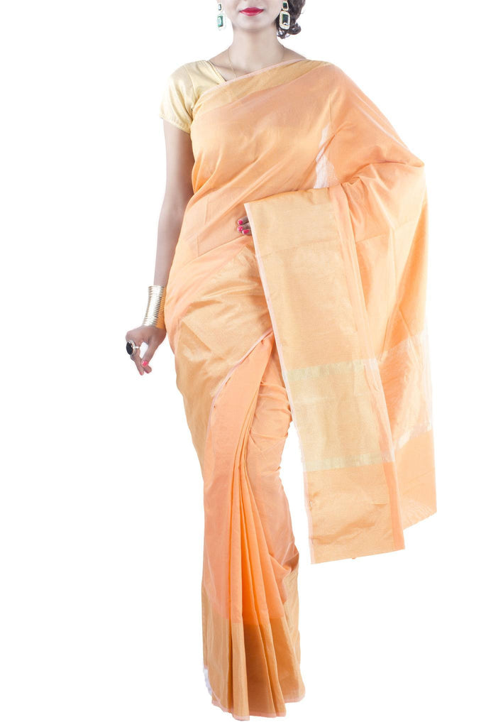 Orange Chanderi Art Silk Cotton Saree with Zari work
