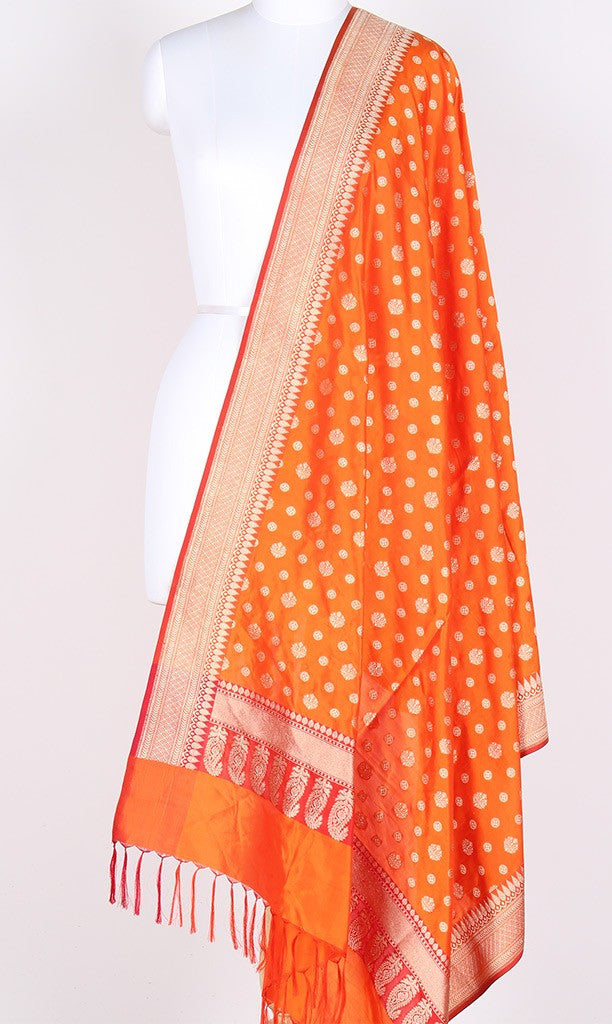 Orange Katan Silk Banarasi Dupatta with round motifs PCPBD07KS03 (1) Main