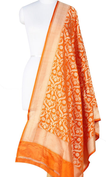 Orange Katan Silk Banarasi Dupatta with stylized jaal and Zari work Main Image