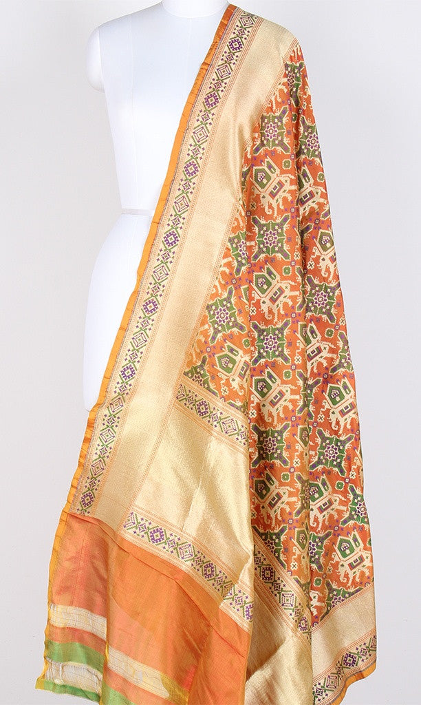 Orange Katan Silk Handwoven Banarasi Dupatta with patan patola pattern PCRVDKS01PD04 (1) Main