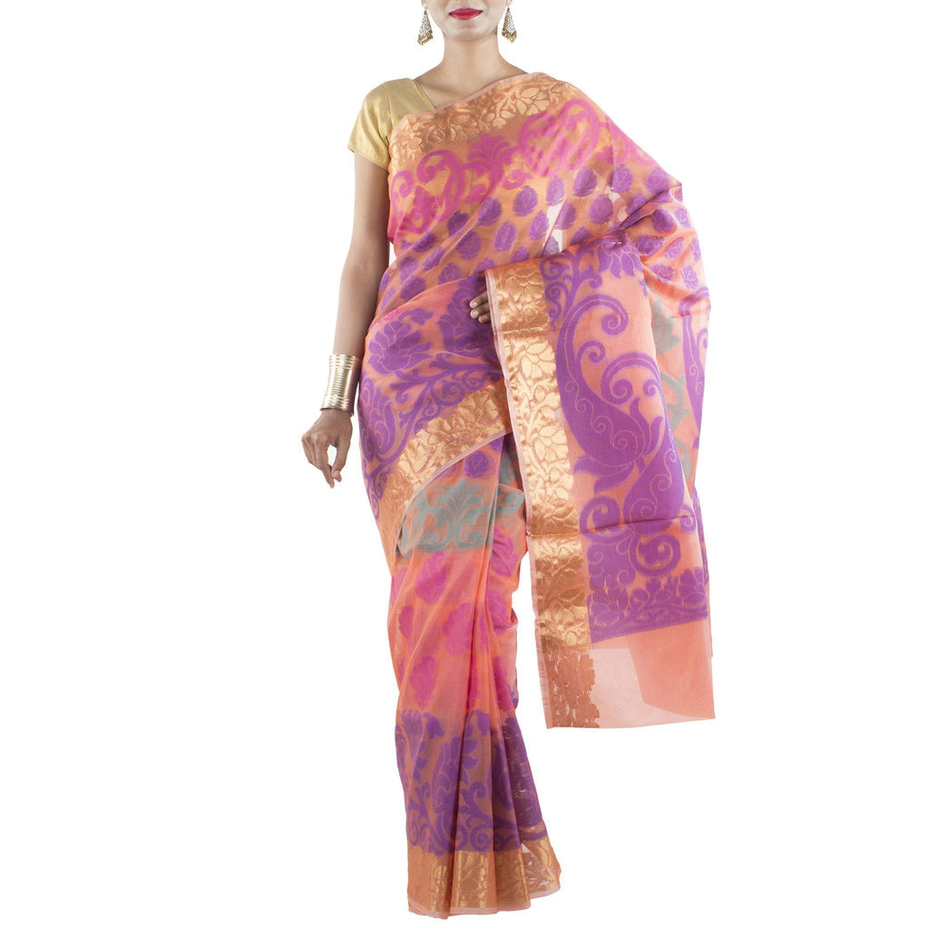 Orange Kora Art Silk Saree with zari brocade border