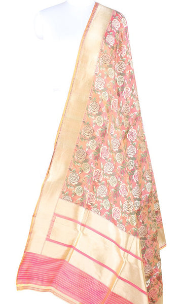 Orange Pink Katan Silk handwoven Banarasi dupatta with rose jaal PCARS07KS01 (1) Main