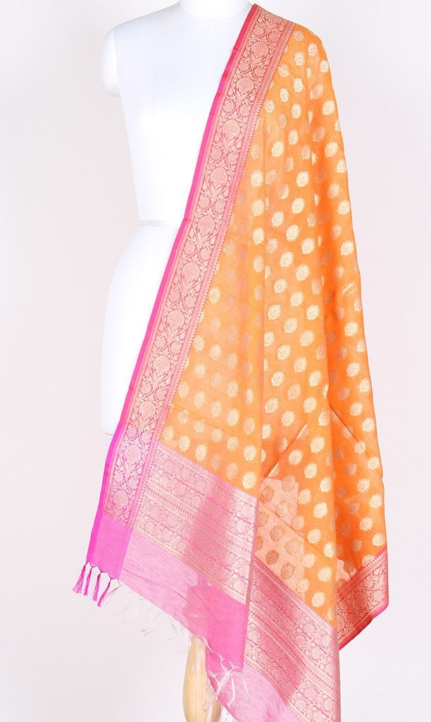 Orange Silk Cotton Banarasi Dupatta with artistic leaf motifs PCPBD02SC13 (1) Main