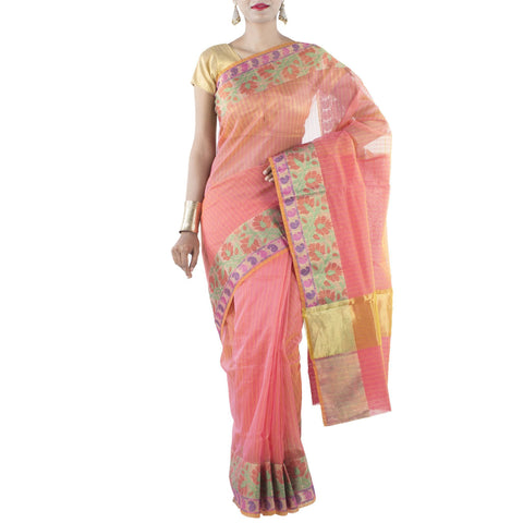 Orange color Art Silk Saree with Floral Jaal and Zari work