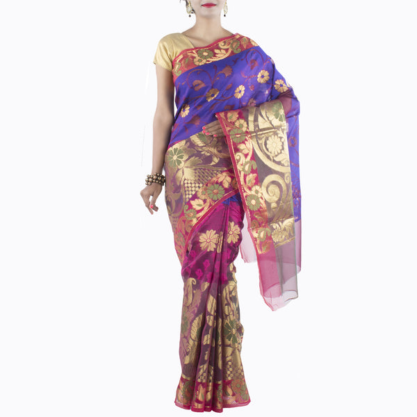 Multi color Art Silk saree with Floral jaal and Zari work