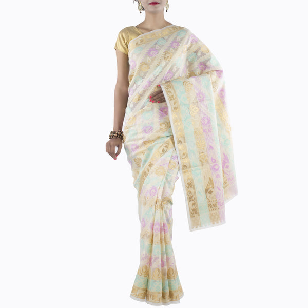 Cream Art Silk Saree with multi color floral motifs and zari work