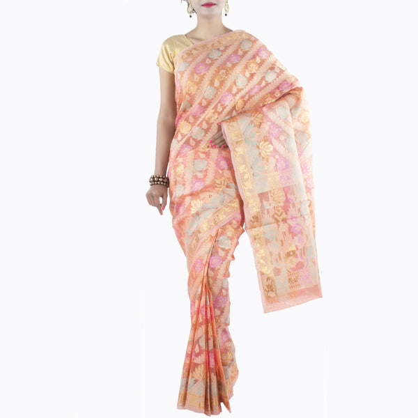 Peach Art Silk Saree with multi color floral motifs and zari work