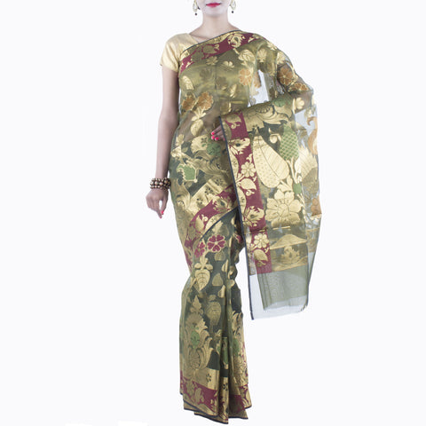 Green Art Silk Saree with Floral and Leaf motifs and Zari work