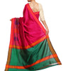 Back side image of model wearing magenta Silk Cotton Saree