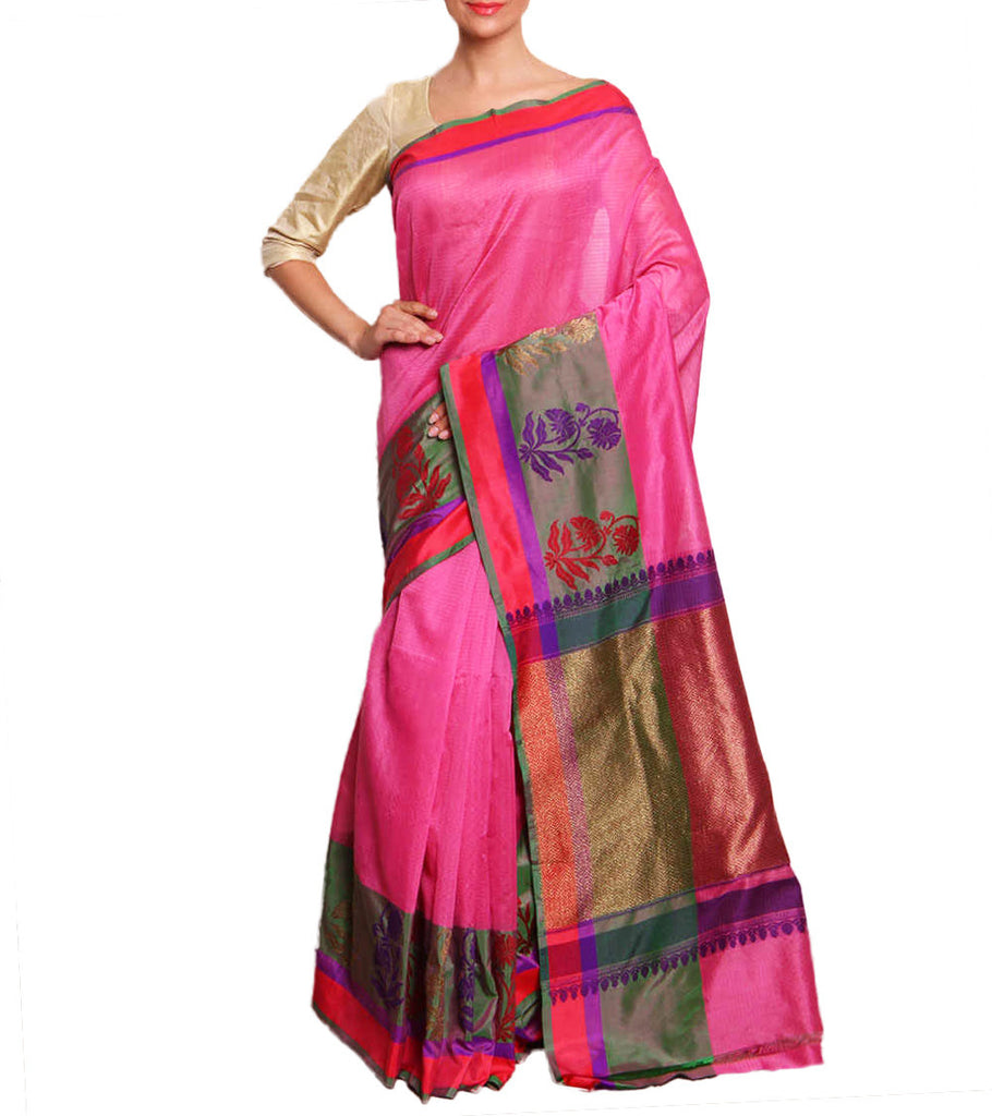 Front side image of model wearing pink Silk Cotton Saree