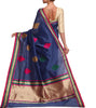 Back side image of model wearing blue Silk Cotton Saree