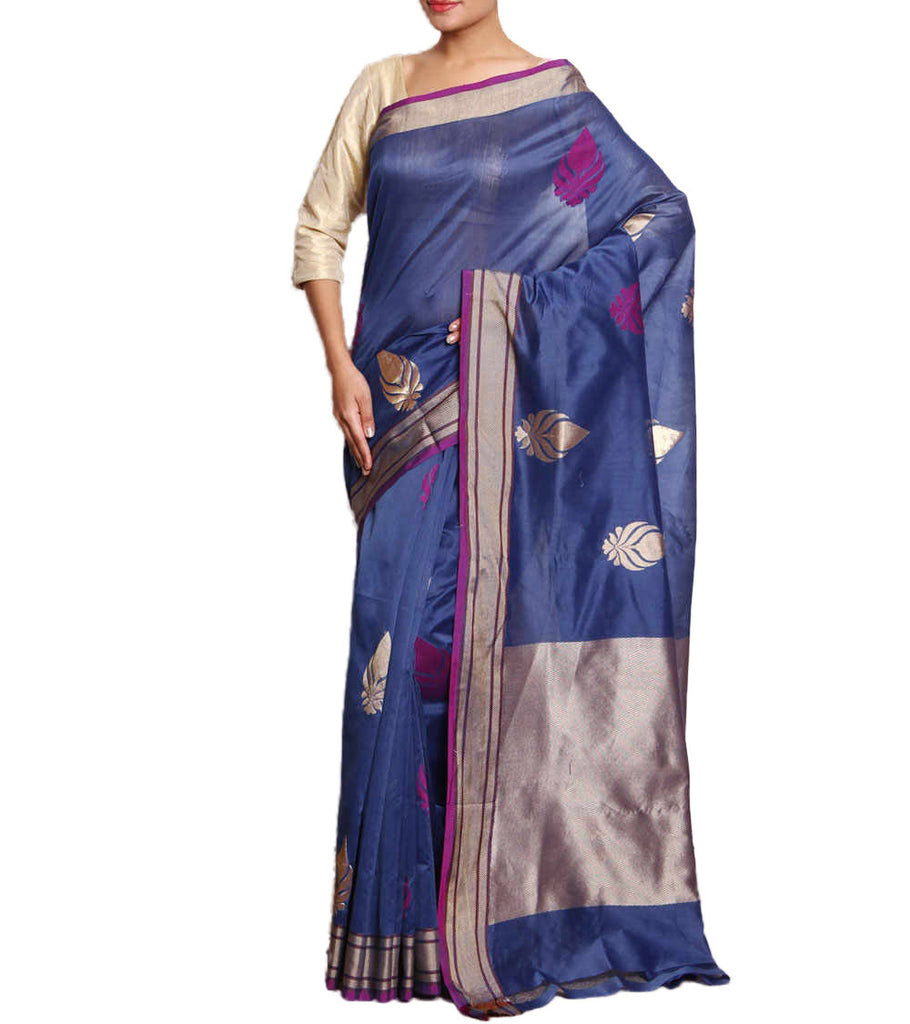 Front side image of model wearing blue Silk Cotton Saree