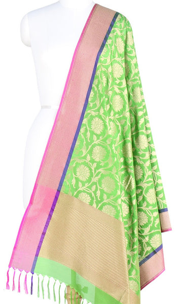 Parrot Green Banarasi Silk Dupatta with Floral jaal and zari work PCPBD03S03 (1) Main