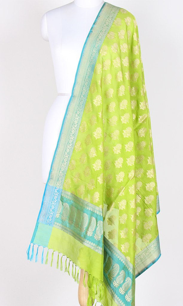 Parrot Green Banarasi Silk Dupatta with flower motifs PCPBD03S27 (1) Main