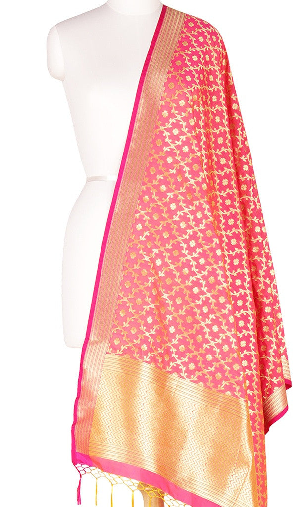 Peach Art Silk Banarasi Dupatta with stylized leaf jaal Main Image