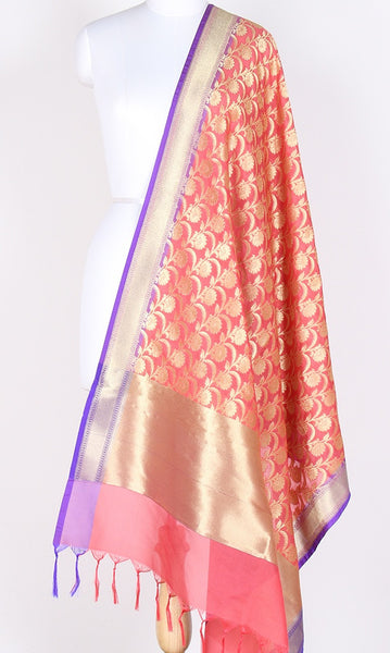 Peach Art Silk Banarasi dupatta with flower jaal and zari work SSJB01N77 (1) Main