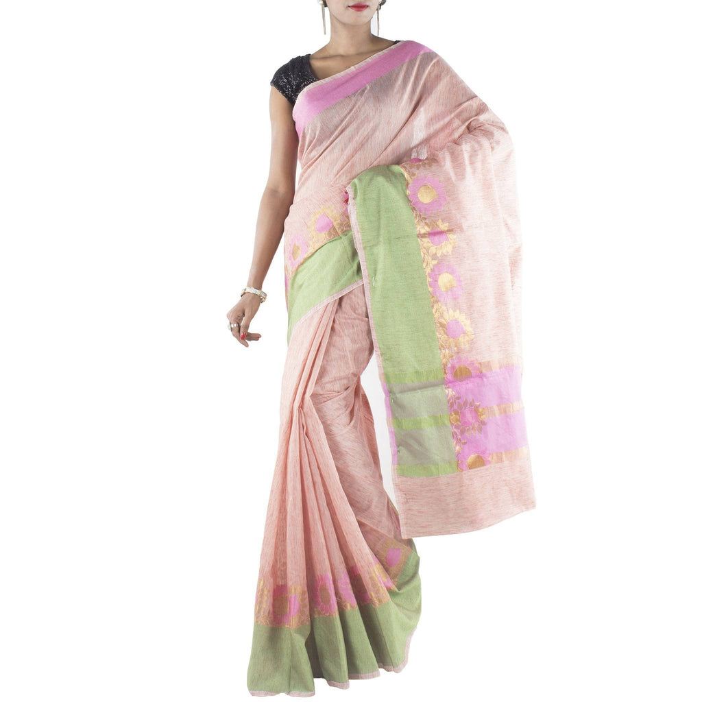 Peach Art Silk Cotton Saree with Floral motifs and zari work