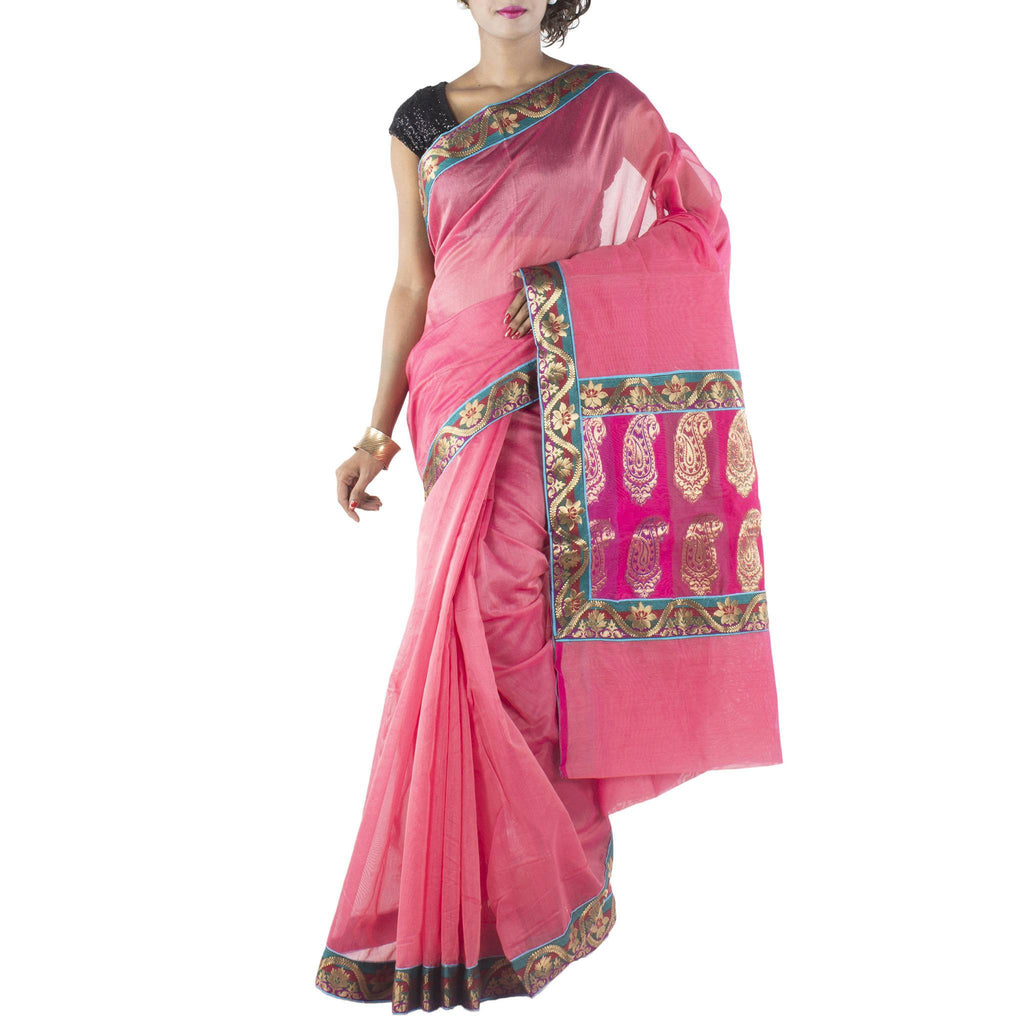 Peach Art Silk Saree with Brocade border and anchal