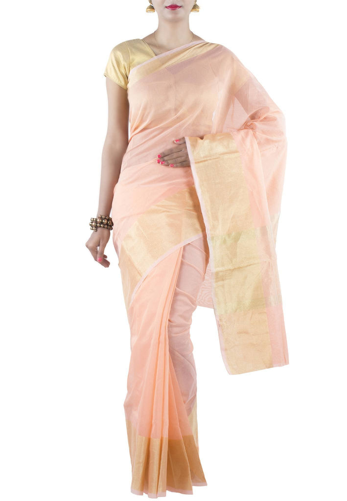 Peach Chanderi Art Silk Cotton Saree with Zari work