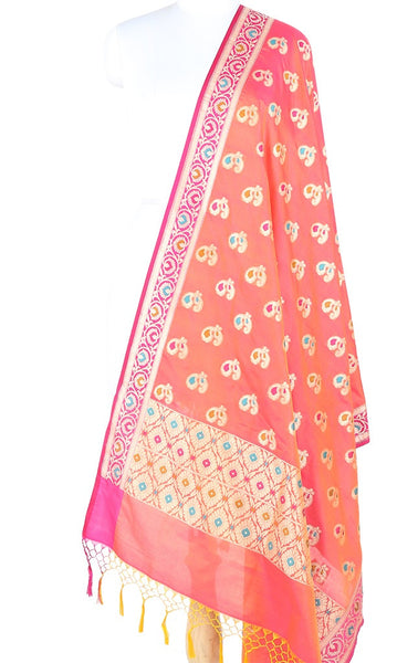 Peach Silk Banarasi Dupatta with multi color peacock motifs 10000345300006PR337 (1) Main