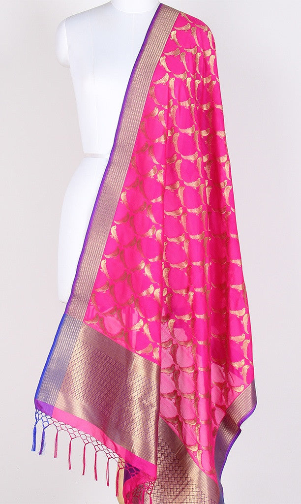 Pink Art Silk Banarasi Dupatta with bird motifs SSRVDAS525 (1) Main